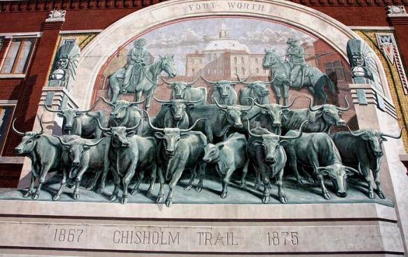Chisholm Trail mural à fort worth vue lors de notre voyage aux USA en famille