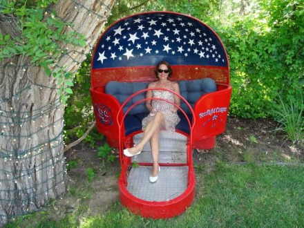 Un fauteuil aux couleurs Américaines au Texas pendant un voyage en Amérique en famille