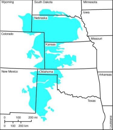 Carte de l'aquifère Ogallala à découvrir lors d'un voyage aux Etats-Unis en famille
