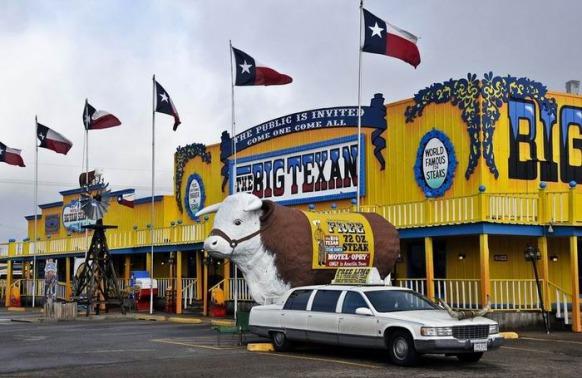 Limousine gratuite au Big Texan Steak Ranch au Texas à prendre lors d'un voyage aux Etats-Unis en famille