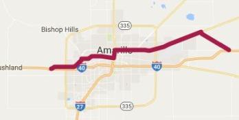 Ancien tracé de la route 66 à Amarillo à voir lors d'un voyage en Amérique en famille