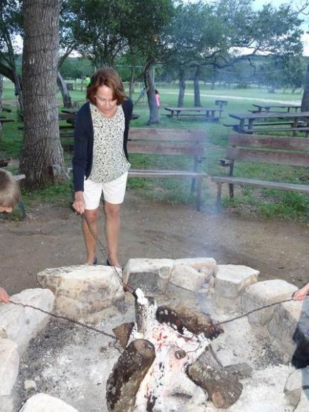 feu de camp au Texas lors d'un voyage aux USA en famille