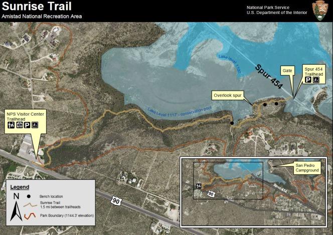 Sunrise Trail à Del Rio au Texas pour longer amisad lake pendant un voyage aux Etats-Unis en famille