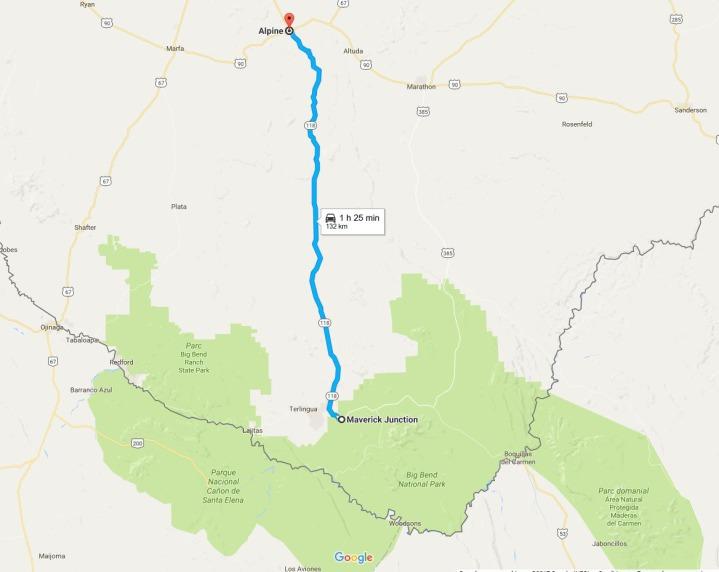 La route du Big Bend National Park depuis Alpine à faire pendant un voyage aux Etats-Unis en famille