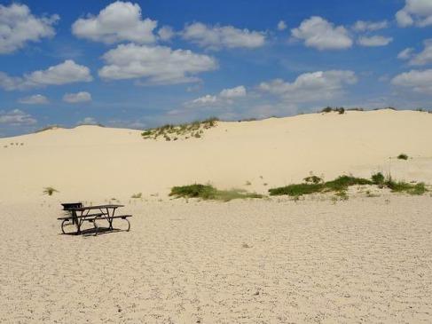 Monahans Sandhills State Park au Texas afin de s'amuser pendant un voyage aux Etats-Unis en famille