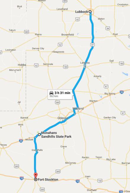 Route entre Lubbock et Fort Stockton au Texas à faire lors d'un voyage aux USA en famille