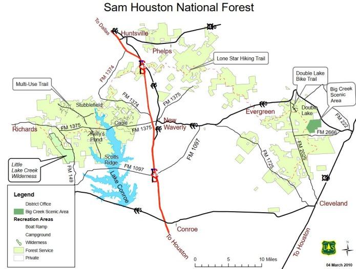 Sam houston national forest pour randonner au cours d'un voyage aux usa en famille