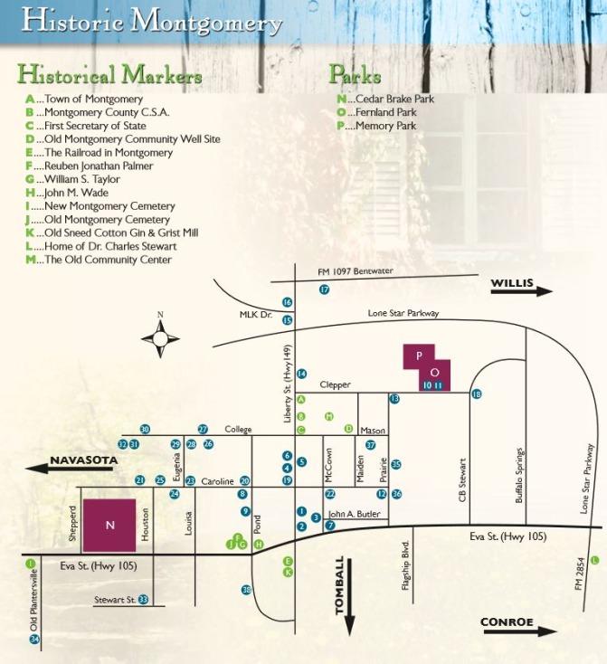 Carte du quartier historique de Montgomery à voir au cours d'un voyage aux USA en famille