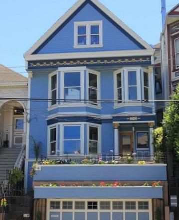"""La """"Maison bleue"""" de Maxime le Forestier à San Francisco en californie aux usa à visiter lors d'un voyage aux etats-unis en famille"""