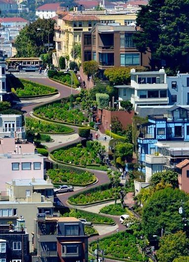 Lombard Street à San Francisco en californie aux Etats-Unis à descendre lors d'un voyage aux USA en famille