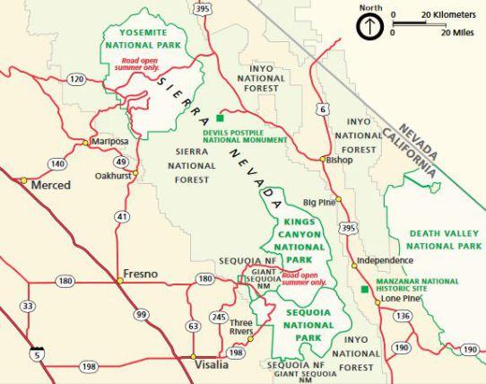 carte region sequoia park en Californie aux Etats-Unis à découvrir lors d'un voyage aux usa en famille