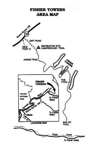 fisher towers map près de moab en utah aux etats-unis à découvrir lors d'un voyage aux usa en famille pendant les vacances