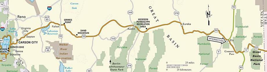 La route I 50 au Nevada aux Etats-Unis à faire lors d'un voyage aux USA en famille pendant les vacances